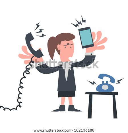 Busy Business woman with Telephone - stock vector