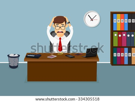 Busy businessman sitting at the table in the office and has a lot telephone calls at the same time. Cartoon flat style - stock vector