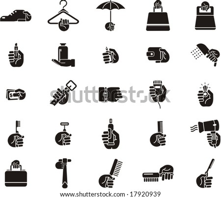 Busy Hands Icons - accessories, cosmetics - stock vector
