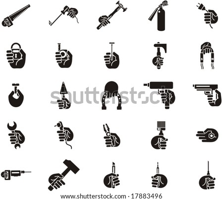 Busy Hands Icons - tools and instruments - stock vector