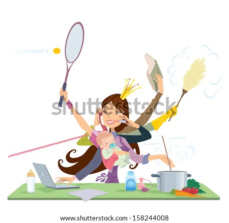 Busy mother doing simultaneously many tasks cooking cleaning reading working and talking on the phone - stock vector
