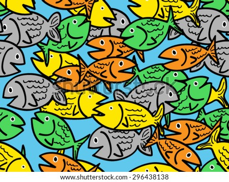 Busy seamless pattern of fun colorful cartoon fish - stock vector