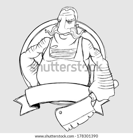 Butcher chef with hatchet in the sign. Freehand drawing - stock vector