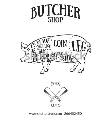 Set Butchery Logotype Templates Cartoon Farm Animals S le Text Retro Styled Toy Farm Animals Black moreover Stock Vector Pig With Apple In Mouth furthermore ANS00062367 besides T0279E05 likewise Confusion Exchange Rate. on pork meat chart