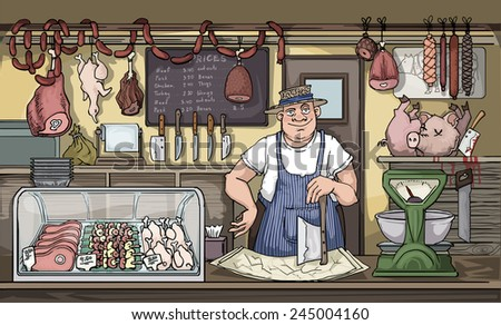 Butcher in his shop, full or different meats, vector illustration - stock vector
