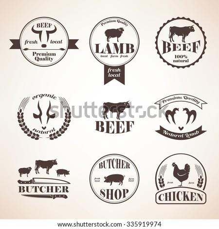 butcher retro emblems and labels set,  design elements and templates - stock vector