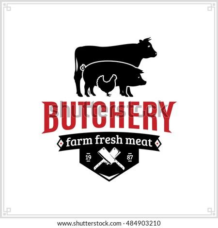 butcher shop black red logo farm stock vector 484903210 shutterstock rh shutterstock com butcher logo vector free butcher logo vector