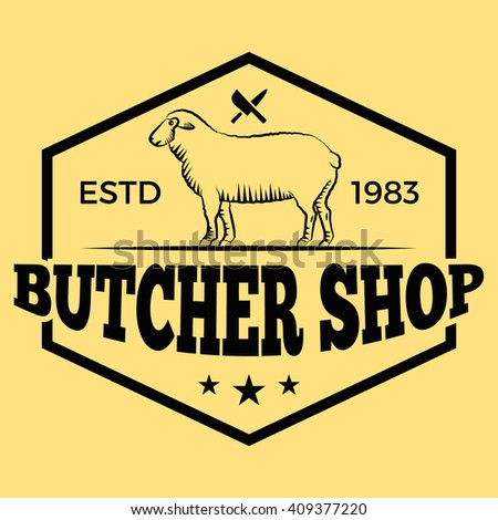 Butcher shop lamb badge/Label For hipster signage, prints and stamps. Butchery with sheep and knifes