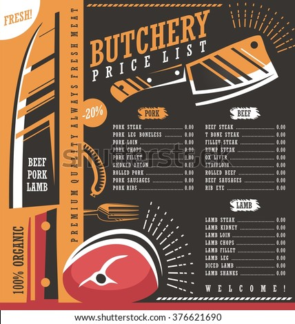 Butcher Shop Price List Vector Design. Meat Menu Butchery Creative Ad Or  Banner Template.  Price List Design Template