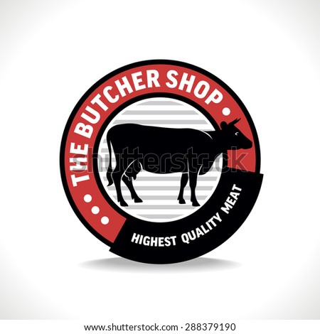 Butcher shop sign with silhouette of cow, vector illustration for design label