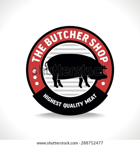Butcher shop sign with silhouette of pig, vector illustration for design label