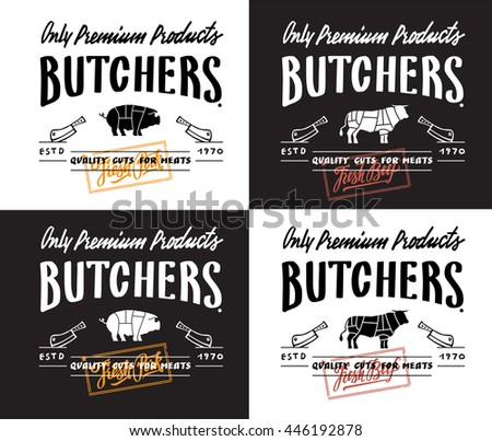 Butchers produce. Lettering label and logotype