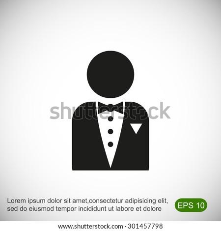 Butler icon - stock vector
