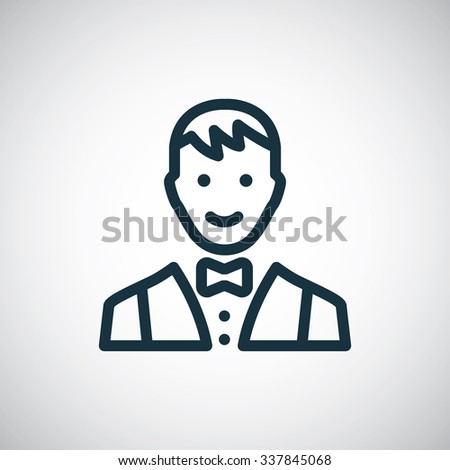 butler outline, thin, flat, digital icon for web and mobile  - stock vector