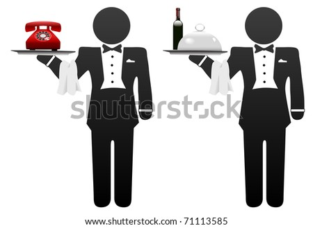 Butler servant or room service waiter delivers food or phone on tray - stock vector