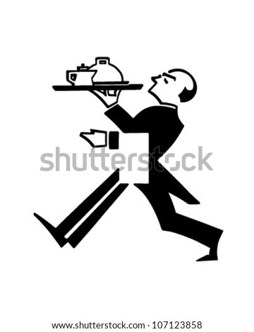 Butler With Tray - Retro Clipart Illustration - stock vector