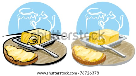 butter and sandwich - stock vector