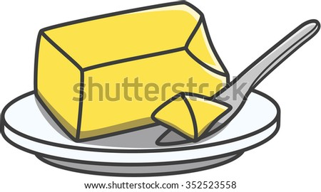 Butter doodle illustration - stock vector