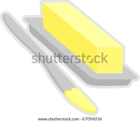 butter in dish and spreading knife - stock vector