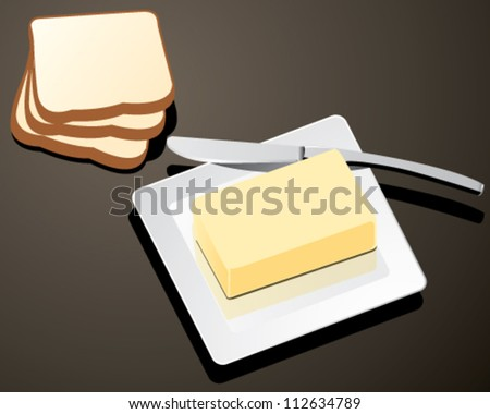 butter on white plate with knife and bread vector