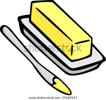 butter or margarine and spreading knife - stock vector