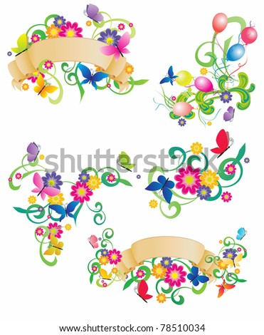 butterflies and flowers retro banners set