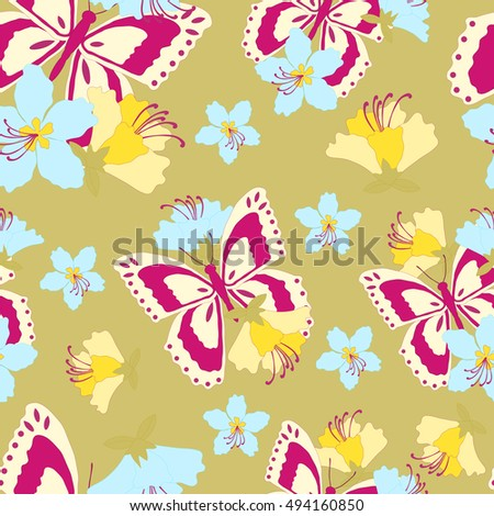 Butterflies and flowers seamless pattern, vector illustration