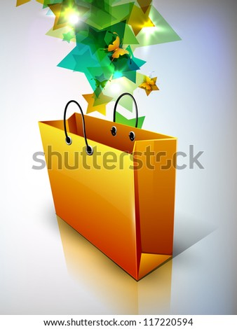 Butterflies and stars coming out from shopping bag. EPS 10. - stock vector