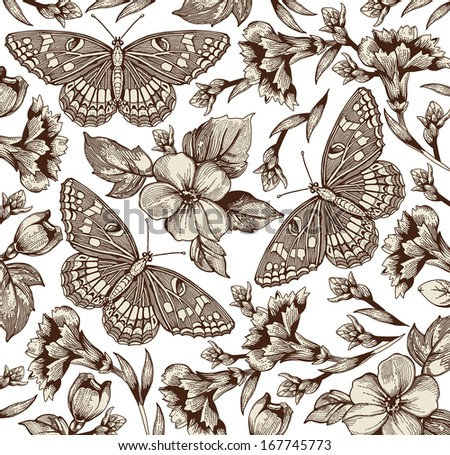 Butterflies. Flowers. Beautiful background with a flower ornament.