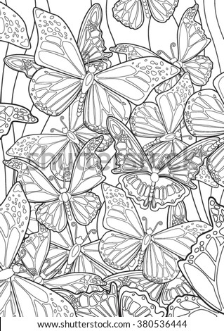 Butterflies. Hand drawn vector illustration.
