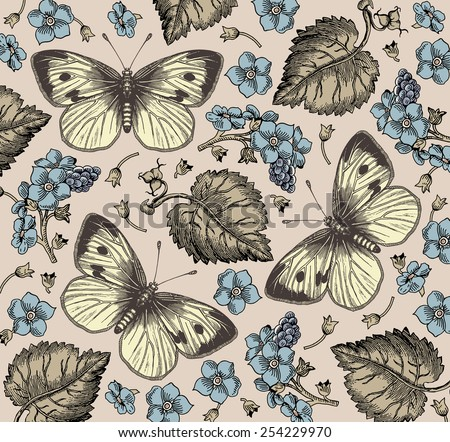 Butterflies, moths. Insect. Beautiful blue realistic flowers. Vintage beautiful background with Blooming Flowers. Wildflowers. Vector Illustration.