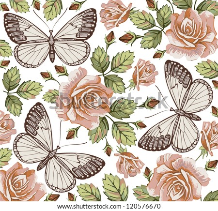 Butterflies, moths, insects. Seamless baroque textile. Beautiful pink and red blooming flowers. Vintage background. Wallpaper. Roses, Wildflowers. Flora. Vector victorian style Illustration.