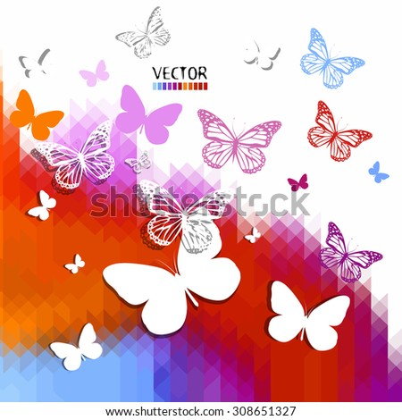 Butterflies on the background of colored mosaic. Vector