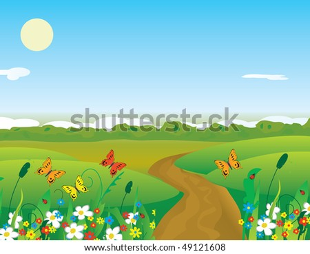 Butterflies over the summer flowering meadow. Vector illustration