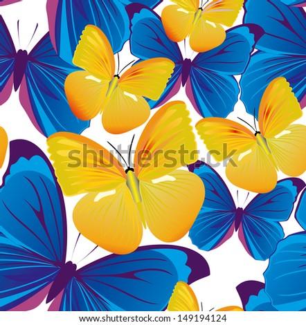 Butterflies - seamless background - stock vector