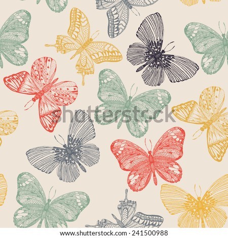 Butterflies seamless pattern in doodle style. Butterfly vector illustration for vintage design.  - stock vector
