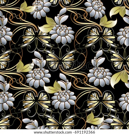 Modern Black Floral Background Wallpaper Illustration With Gold Butterflies White 3d