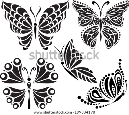Butterflies silhouette. Drawing of lines and points. Symmetrical image. Options. - stock vector