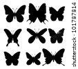 Butterflies silhouettes on white background. Vector set - stock vector