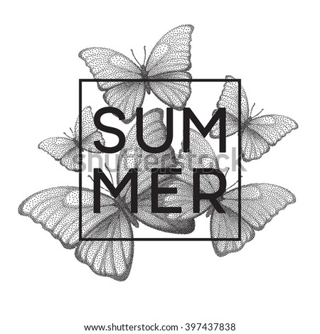 Butterflies. Summer. Stipple illustration with space for text. Vector illustration EPS10