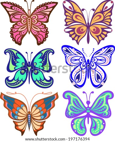 Butterflies variety of complex shape. Decoration silhouette. - stock vector