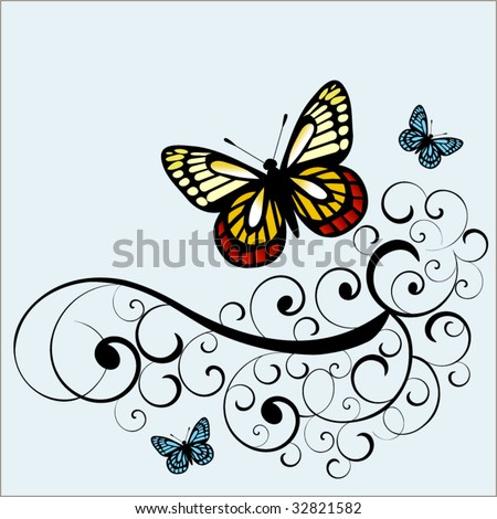 butterflies with coil vine