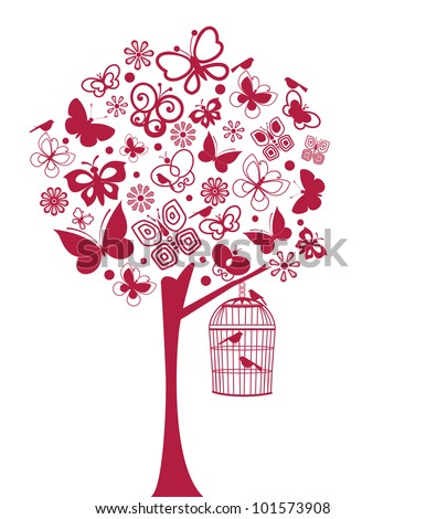 Butterfly and bird tree  (all separate elements) - stock vector