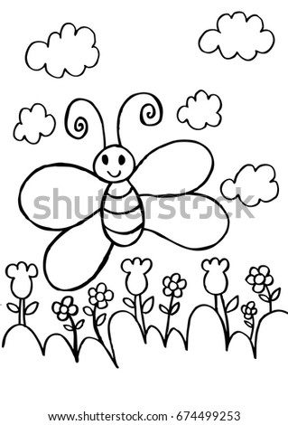 Butterfly Flower Coloring Pages Stock Vector 674499253 - Shutterstock
