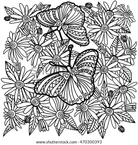 Butterfly And Flowers In Black White For Coloring Book Or Design On A Card
