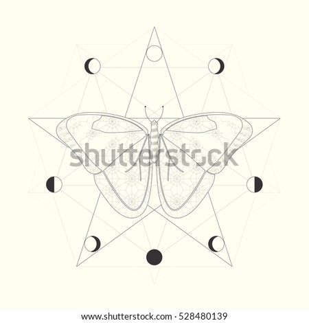 Butterfly Symbol Rebirth Transformation Moon Phases Stock Photo