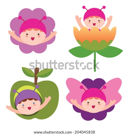 Butterfly babies - stock vector