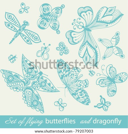 Butterfly Background, vintage insect set, collection of butterflies and dragonfly, set of butterflies silhouettes isolated on white background