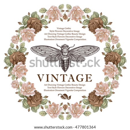 Butterfly, cicada, fly. Flowers roses isolated, summer. Beautiful vintage floral frame. Greeting card. Border. Drawing, engraving realistic. Wallpaper baroque. Vector victorian style illustration.