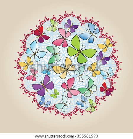 Butterfly circle  - stock vector